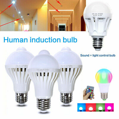 Energy-Saving LED E27 White 5W~12W Dusk to Dawn Light Bulb Home Garden Lamp Lot