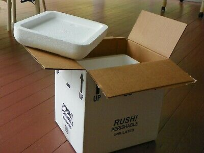 """Styrofoam Insulated Cooler with Shipping Box ext meas 11.25""""L x 9.5""""W x 11.75""""H"""