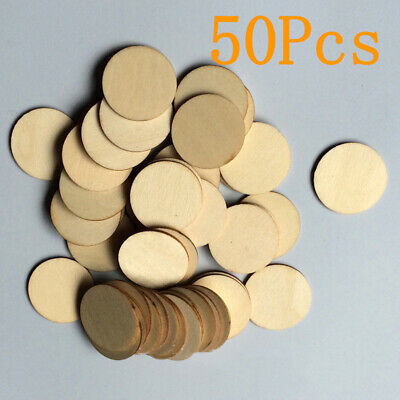 3*3*0.2CM Blank Wood Pieces Slice Round Unfinished Crafts Wooden Discs 50pcs