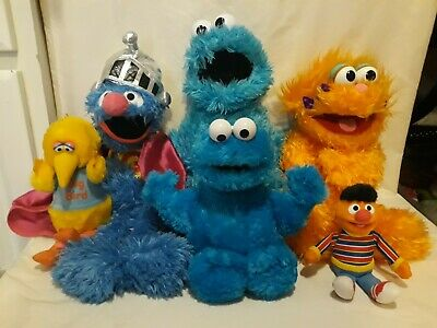 Sesame Street Place Cookie Monster Zoe Puppet Super Grover Plush Lot of 3 12""
