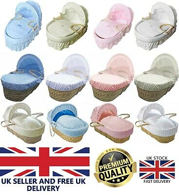 New Baby Moses Basket Soft Dimple Broderie Anglaise Marshmallow Hood Bedding Set
