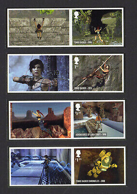 2020 VIDEO GAMES TOMB RAIDER SMILERS Set of Four SINGLE LITHO STAMPS + LABELS