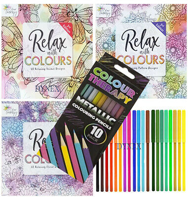 3 x Adult Colour Therapy Colouring Books + 20 FELT TIPS + 10 COLOURING Pencils
