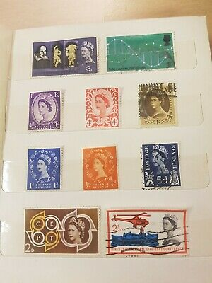 Various Used Great Britain Stamps of Queen Elizabeth 2 Qty: 10 (My ref:ST00046)