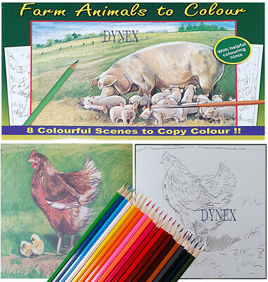 Adult Anti-Stress Farm Animals Colouring Book  + 20 Colouring Pencils