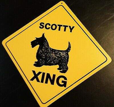 Large Crossing Funny Novelty Xing Sign dog Scottish Terrier Scottie Scotty