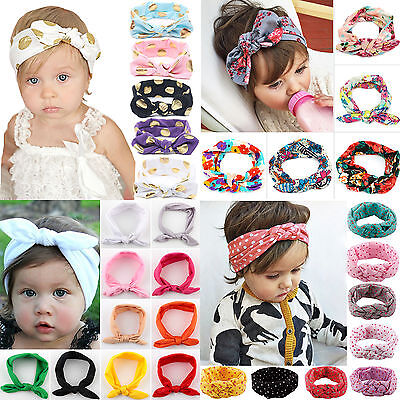 Baby Girls Bunny Kids Turban Knot Rabbit Headband Bow Hair bands Head wrap Sweet