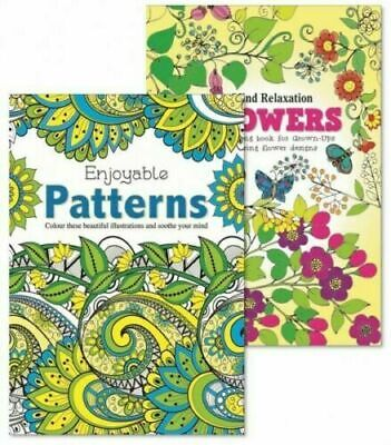 2 x NEW EDITION Patterns & FLOWERS Adult Colouring Book Books, anti stress calm