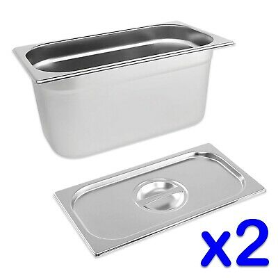 STAINLESS STEEL FOOD PANS 2x GASTRONORM 1/3 TRAYS AND LIDS 150mm DEEP BAIN MARIE