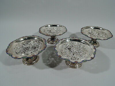 Export Compotes - Set of 4 Antique Footed Bowls - Southeast Asian Silver Enamel