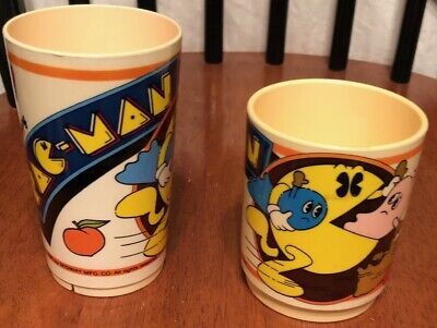 Pac-Man Plastic Coffee Cups Vintage Midway 1980's Arcade Game 2ct Lot