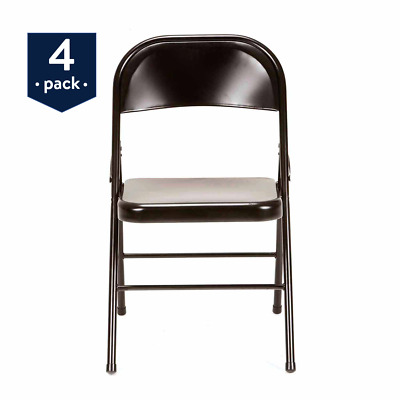 Party Event Chairs 4 Pc Steel Metal Folding Black Wedding Portable Seating Chair