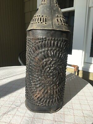Rare Large 18th Century punched tin lantern Early New York primitive Antique