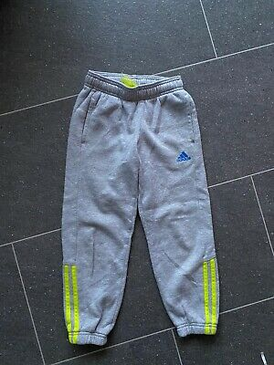 Boys Adidas Joggers Tracksuit Bottoms Age 5-6 Grey And Neon Yellow