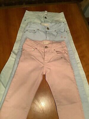 3 Pairs Zara Coloured Jeans Girls Age 7 - 8 Pastel Colours Pink Blue Light Green