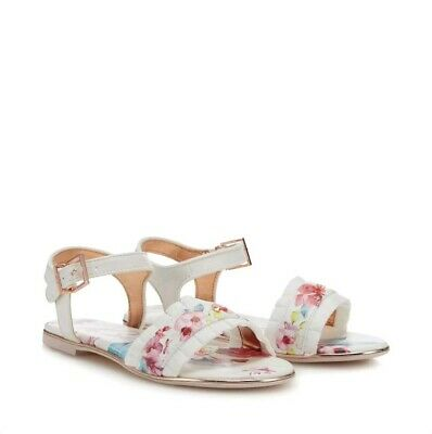 Ted BakerGirls' White Floral Frilled Trim Sandals. Size 3. Bnwt.