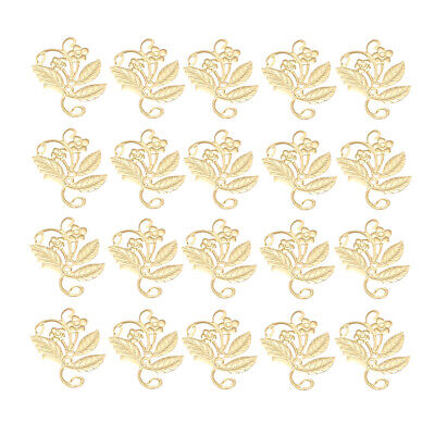 Gold Filigree Flowers Hairpin for Garment Jewelry Making Bags Decor 50pcs