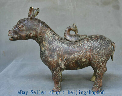 "13"" Old Chinese Bronze Ware Western Zhou Dynasty Rabbit Zun Beast Wine Vessel"