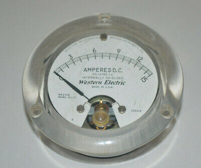 Vintage Western Electric Meter 0-15 Amperes D.C. Gauge Weston Model KS-14784 L4