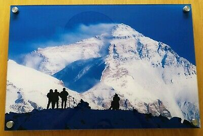 Signed Mt Everest Photograph By Lincoln Hall Mounted Behind Perspex. 60cm x 40cm