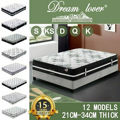 Dream Lover Mattress Queen Double King Single Bed Memory Foam Pocket Spring