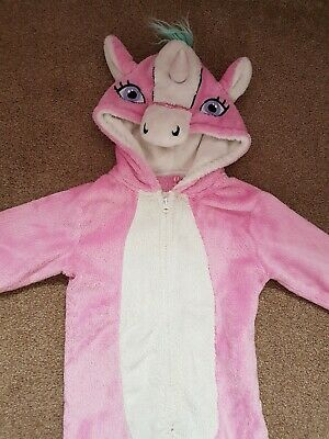 girls pink unicorn all in one age 6-7 gorgeous warm fluffy