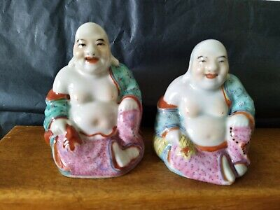 Two Old Antique Late 19th Early 20th Century Porcelain Buddhas, Budha's