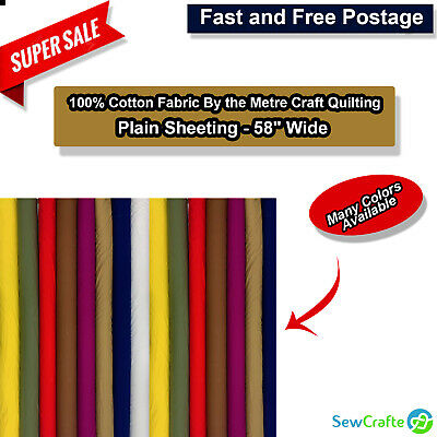 """100% Cotton Fabric By the Metre Craft Quilting Colours Plain Sheeting - 58"""" Wide"""