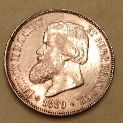 ~1889 Imperial Brazil 2000 Silver Reis Dom Pedro II - Sale Priced