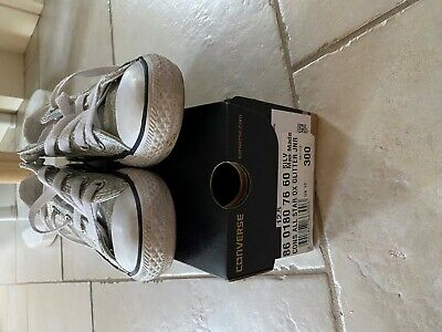 Girls Converse All Star Trainers Metallic Silver. Size 12 Uk