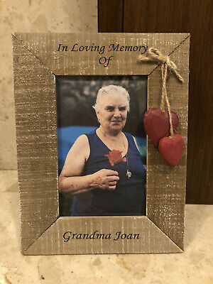 Personalised Wooden Hearts Photo Frame - In Loving Memory Memorial - Any Name