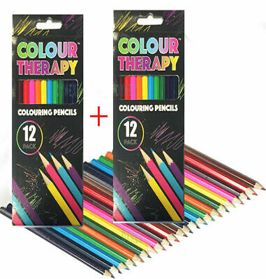 24 x ADULT COLOURING PENCILS FOR ADULT/CHILD COLOUR THERAPY STRESS RELIEF