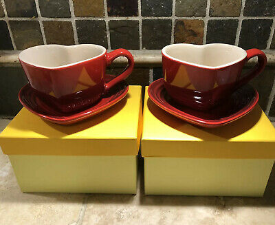 "Set of 2 ""Cerise"" Red LE CREUSET Heart Shaped Mugs & Plates NWT Stoneware Tray"