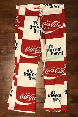 Vintage Coca-Cola The Real Thing Bell Bottom Drawstring Beach Pants NEW