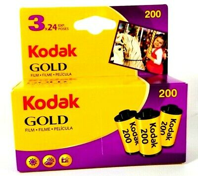 New Kodak Gold Film 35mm ISO 200 3 Rolls 24 Exposure Per Roll
