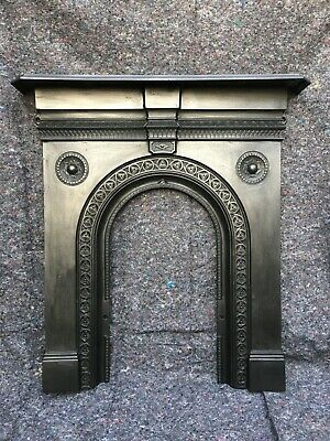 Large Pair Antique Cast Iron Victorian Fire Surround Arched, Dated 1883, Uk Del.