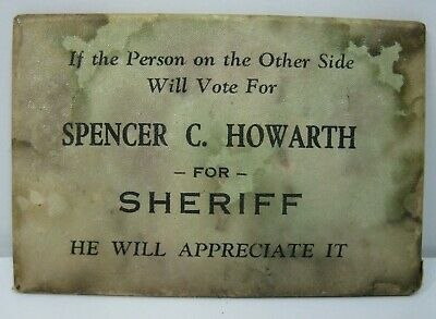 Spencer Howarth for Sheriff Political Pocket Mirror Oakland County MI 1940s