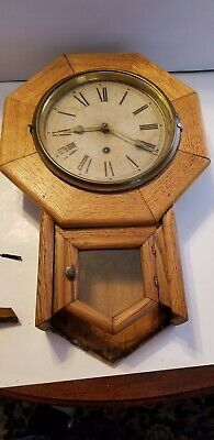 Antique Waterbury Octagonal Wall Clock Oak Case missing bottom Project or Parts