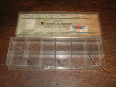 BOX of WATCHMAKERS CENTER STEMS FOR TRAVELLING CLOCKS