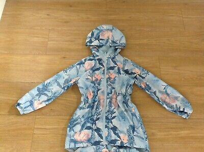 Girls lightweight blue and floral showerproof jacket Peacocks age 7/8