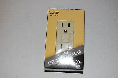 New In Box 15A Gfi Gfci Wall Receptacles Ivory With Unbreakable Faceplate