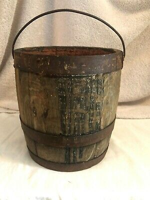 "Antique Original Small Wood Barrel/Keg W/Wire Handle  Paint Chalk Lined 7-1/4""H"