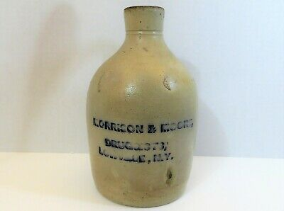 Morrison & Moore Druggists, Lowville NY Stoneware Blue Incised Advertising Jug
