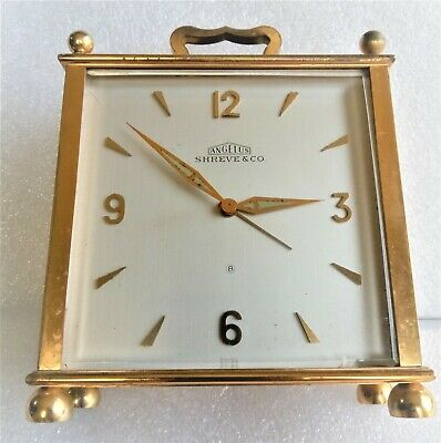 Vintage 1958 ANGELUS Shreve & Co. SWISS Brass 8 DAY CLOCK 15 Jewels Still Ticks