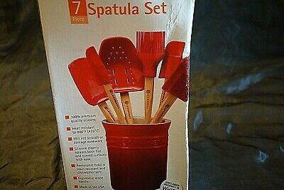 Le Creuset White 7 Piece Spatula Set With Stoneware Crock New In Box
