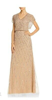 Adrianna Papell Womens Embellished Blouson Dress Size 14 Champagne NWT MSRP 199