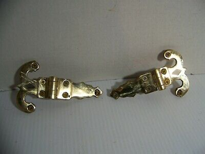 "2-VINTAGE SOLID BRASS 5 1/2"" X 3 1/4"" OFFSET HINGES #362 with Screws"