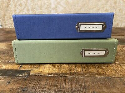 Set Of Two Large Pottery Barn Photo Albums Blue And Green Canvas Farmhouse Style