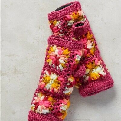 Anthropologie Nirvanna Rose Floral Granny Square Fingerless Gloves Arm Warmers