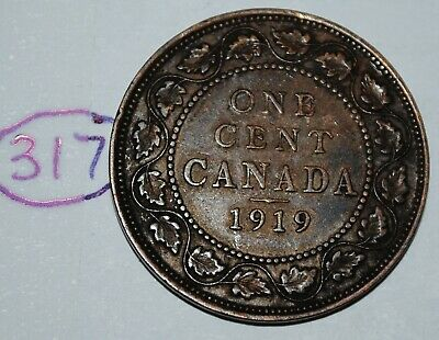 Canada 1919 1 Large cent Canadian one George V Penny coin Lot #317